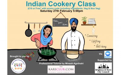 Indian Cookery Class – Saturday 27th February, 5pm – 6:30pm