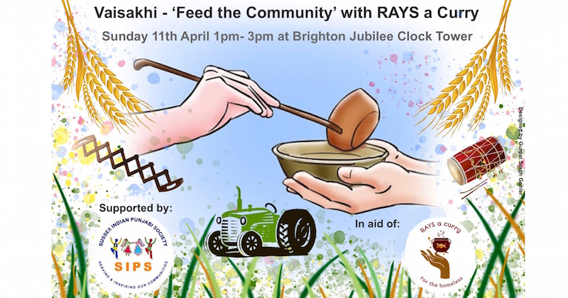 Vaisakhi – 'Feed the Community' with Rays a Curry on Sunday 11th April, 1:00pm – 3:00pm at Brighton Clock Tower